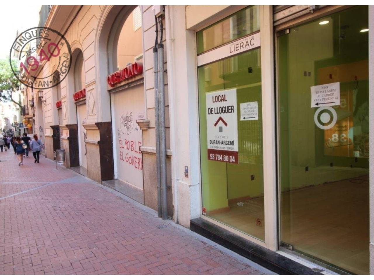 Local comercial de lloguer al carrer Sant Pere